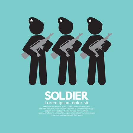 gunfire: Soldiers With Guns Symbol Vector Illustration Illustration