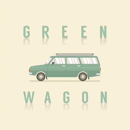 wagon: Side View Of Green Wagon Vector Illustration Illustration