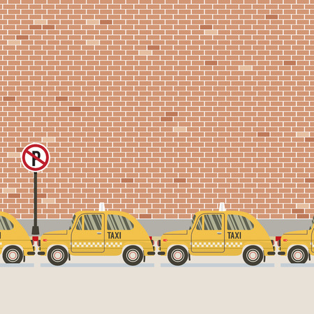 Yellow Taxi Parked Beside Pedestrian Vector Illustration
