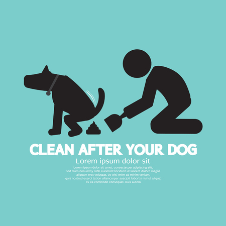 Clean Up After The Dog Symbol Vector Illustration Çizim