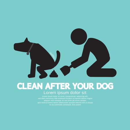 manos limpias: Limpiar después del perro Ilustración del vector de símbolos Vectores