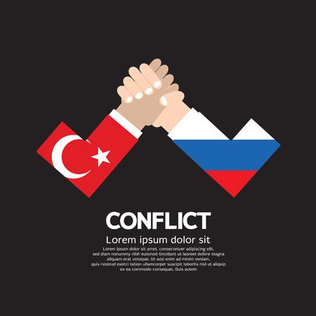 foreign nation: Turkey VS Russia Arm-Wrestle Vector Illustration Illustration