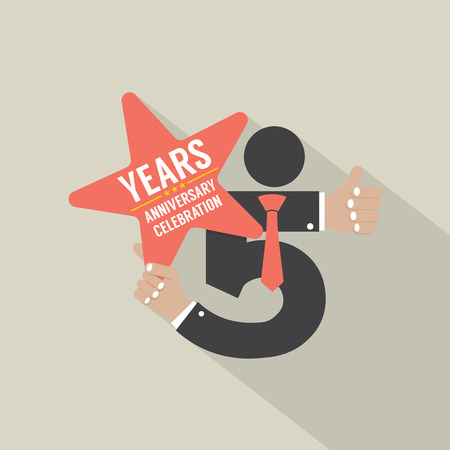 5th: 5th Years Anniversary Typography Design Vector Illustration