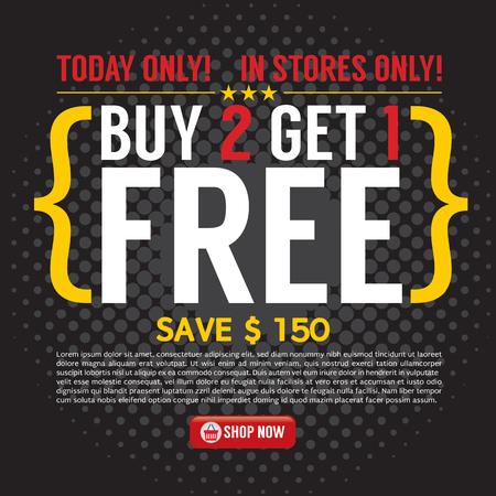 Buy 2 Get 1 Free Background Vector Illustration Illustration