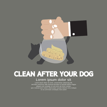 dog poop: Clean Up After The Dog Vector Illustration