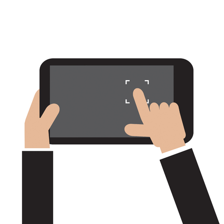 human touch: Touch To Focus On Smartphone Vector Illustration Illustration
