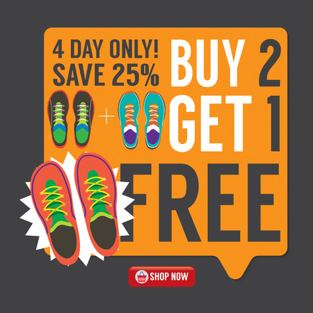 1: Buy 2 Get 1 Free Sneakers Promotion Campaign Vector Illustration
