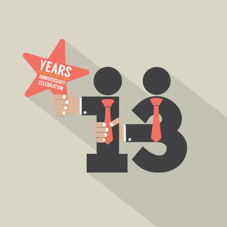 13th: 13th Years Anniversary Typography Design Vector Illustration Illustration