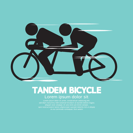 Tandem: Black Symbol Tandem Bicycle Vector Illustration