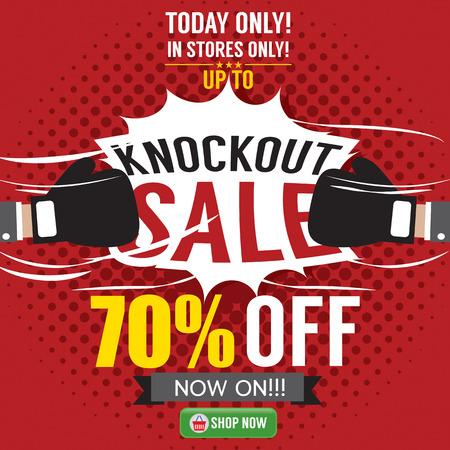 knockout: Knockout Sale Promotion Vector Illustration
