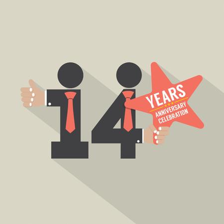 fourteenth: 14th Years Anniversary Typography Design Vector Illustration Illustration