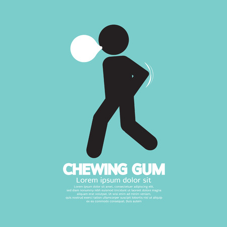 chewing: Black Symbol Chewing Gum Vector Illustration