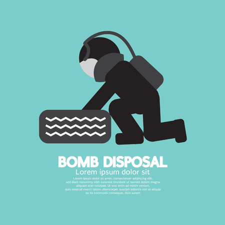 disposal: Black Symbol Bomb Disposal Vector Illustration