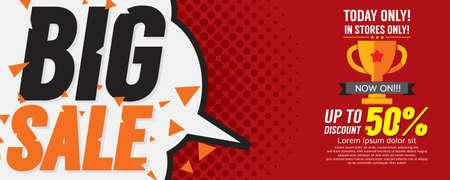 sale tag: Big Sale 50 Percent 6250x2500 pixel Banner Vector Illustration