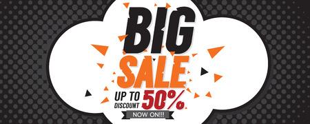 50: Big Sale 50 Percent 6250x2500 pixel Banner Vector Illustration