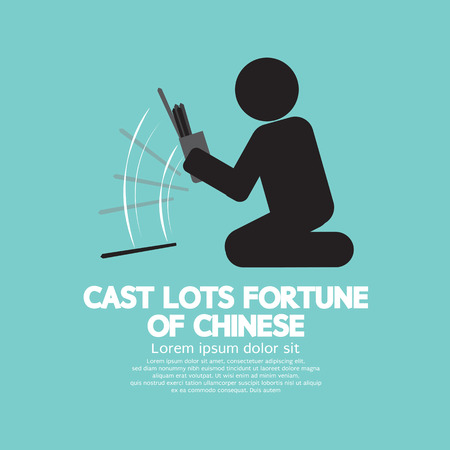 thailand culture: Cast Lots Fortune Of Chinese Vector Illustration Illustration