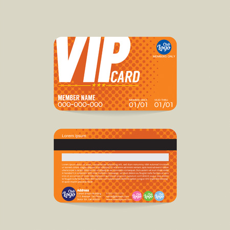 card: Front And Back VIP Member Card Template Vector Illustration