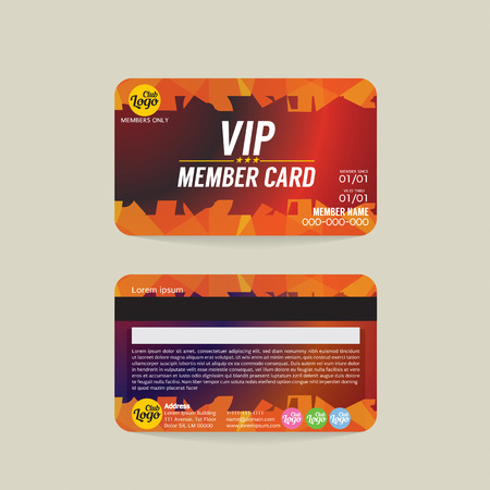 membership: Front And Back VIP Member Card Template Vector Illustration