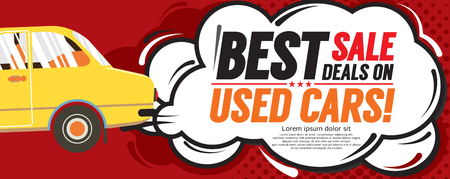 Used Car Best Sale Deal 6250x2500 pixel Banner Vector Illustration Stock Illustratie