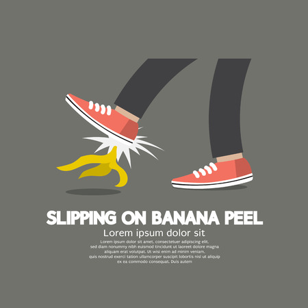 slip homme: Slipping Sur Banana Peel Vector Illustration