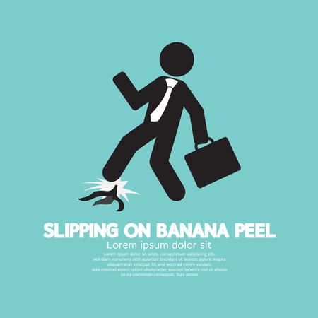 skin injury: Slipping On Banana Peel Vector Illustration Illustration