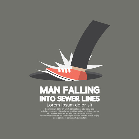 metal legs: Man Falling Into Sewer Lines Vector Illustration