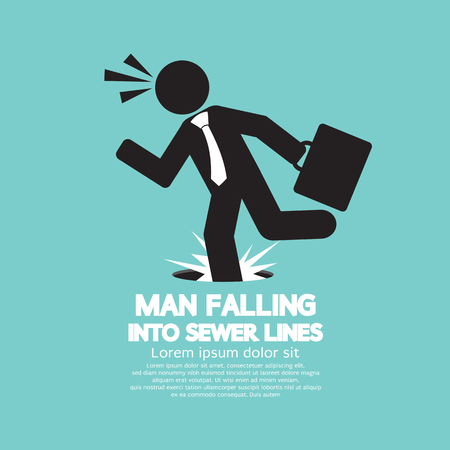 sewer: Businessman Falling Into Sewer Lines Vector Illustration