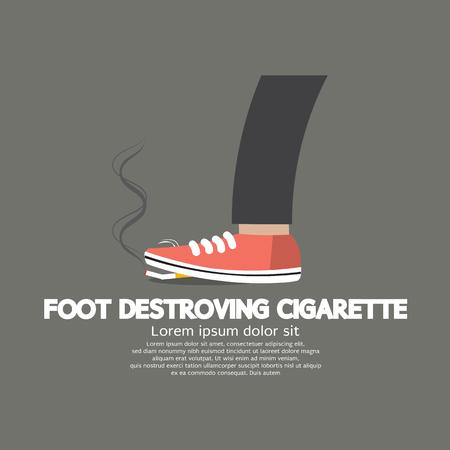 cancer foot: Foot Destroying Cigarette Vector Illustration