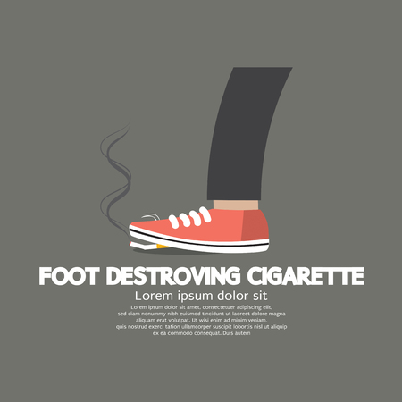 Foot Destroying Cigarette Vector Illustration