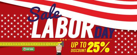 shopping sale: Labor Day Sale 6250x2500 pixel Banner Vector Illustration Illustration