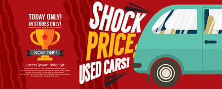 used: Shock Price Used Cars Sale Banner Vector Illustration