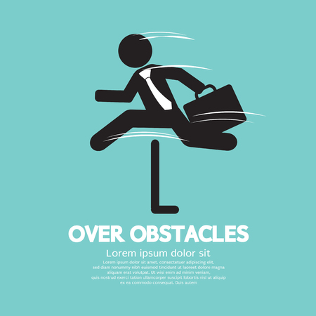 obstacles: Businessman Jump Over The Obstacles Symbol Vector Illustration