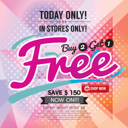 one: Buy 2 Get 1 Free Promotion Vector Illustration