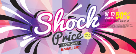 Shock Price 6250x2500 pixel Banner Vector Illustration