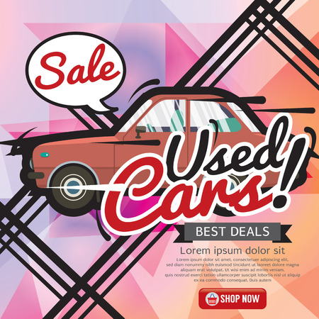 cheap: Used Cars Sale 6250x2500 pixel Banner Vector Illustration