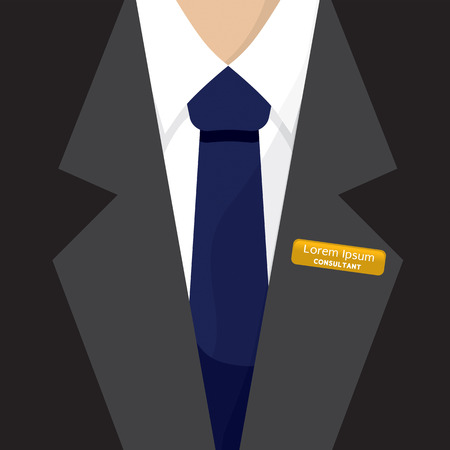 name: Name Badge On Shirt Vector Illustration