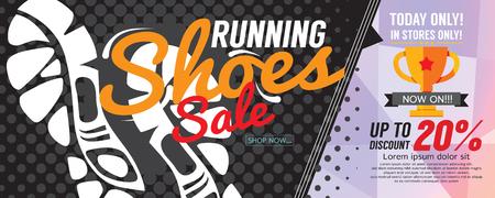 running off: Running Shoes Sale 6250x2500 pixel Banner Vector Illustration
