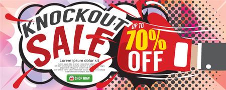 knockout: Knockout Sale 1500x600 pixel Vector Illustration