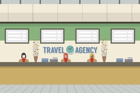 recepcion: Delante de la ilustración de Agencia de Viajes Contador vectorial Vectores