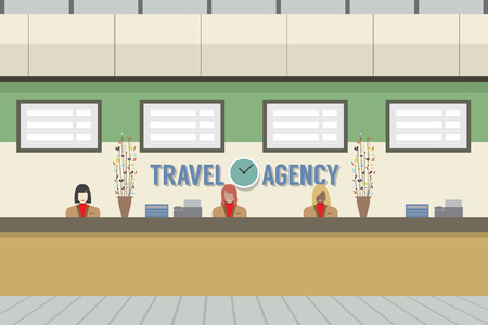 reception desk: Front Of Travel Agency Counter Vector Illustration Illustration