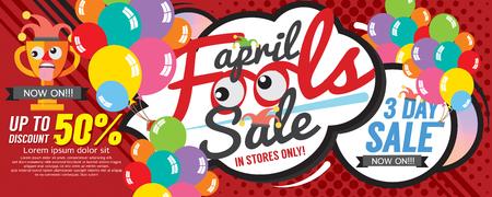 Banner illustrazione vettoriale pesce d'aprile Sale 1500x600 pixel