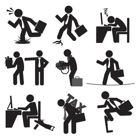 business risk: Business Mans Risk Icon Set Vector Illustration Illustration