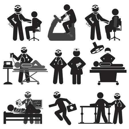 enfermos: Ilustración sanitaria y médica Icon Set Vector Vectores