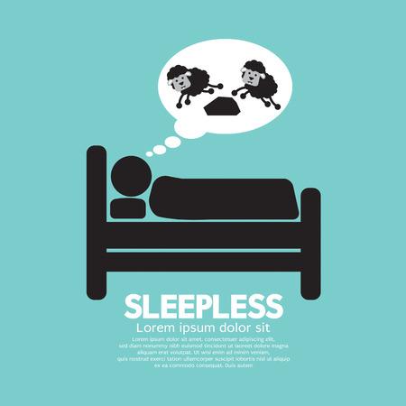 sleepless: Sleepless Person Symbol Vector Illustration