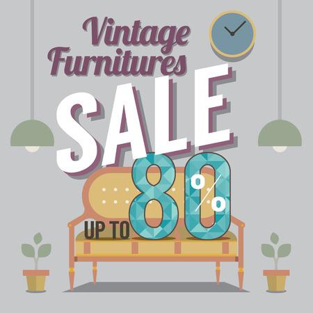 vintage furniture: Vintage Furniture Sale Up to 80 Percent Vector Illustration