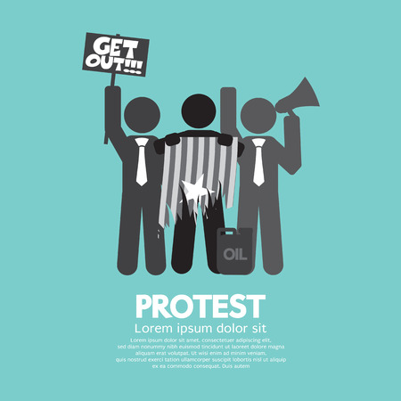 activism: Group Of Protester Graphic Symbol Vector Illustration
