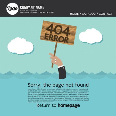 drown: Page Not Found Error 404 Vector Illustration Illustration