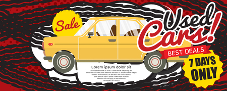 cheap prices: Used Car Best Deal 1500x600 pixel Banner Vector Illustration