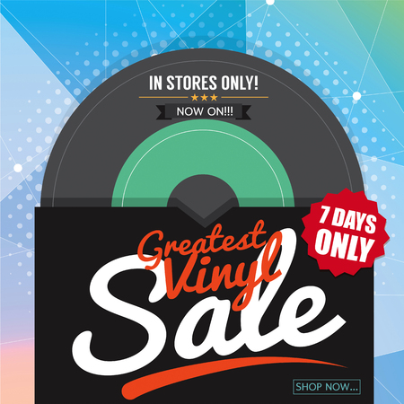 off the record: Greatest Vinyl Sale Banner Vector Illustration