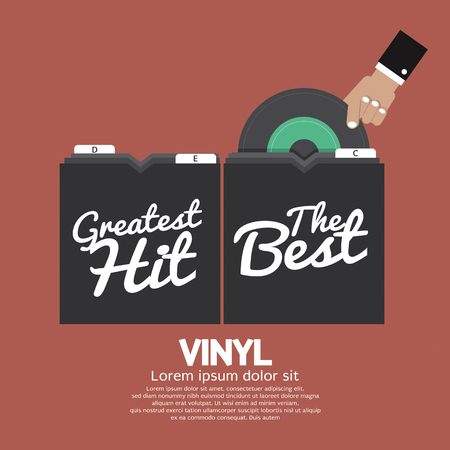'pick up': Hand Pick Up Vinyl From The Box Vector Illustration